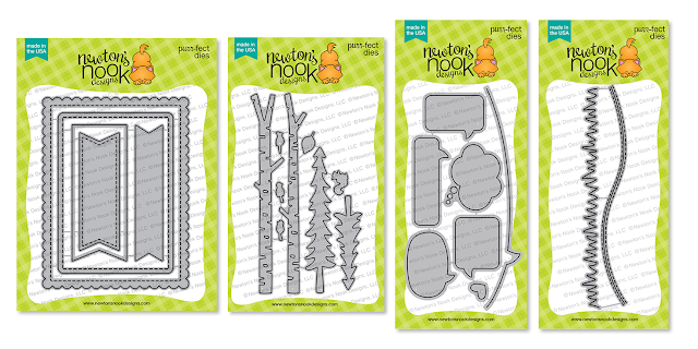 Frames & Flags, Forest Scene Builder, Speech Bubbles and Land Borders Die Set by Newton's Nook Designs