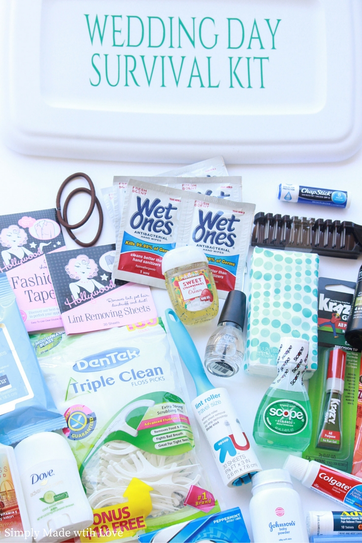 simply made with love wedding day survival kit