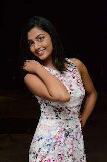 Actress Anisha Ambrose Stills in Floral Dress at Run Movie Gummadikaya Function  0018.jpg