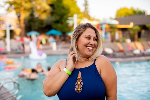 plus size woman by the pool
