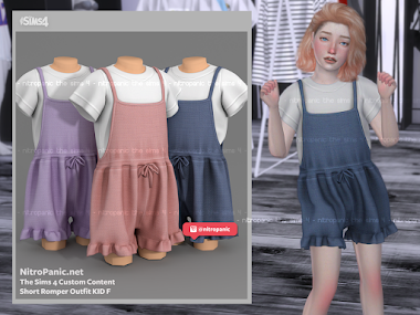 Short Romper Outfit KID F for The Sims 4