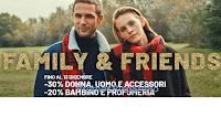 Logo OVS ''Family & Friends : sconti fino al 30% uomo, donna e bambino! Solo per poco tempo