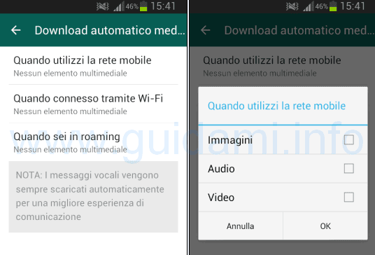 Disattivare download automatici WhatsApp