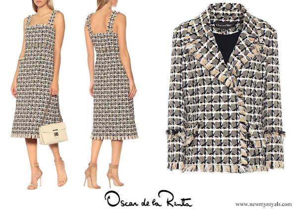 Queen Maxima wore OSCAR DE LA RENTA cotton and wool blend tweed dress and jacket