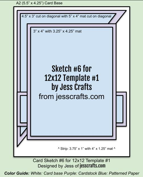 Card Sketch 6 for 12x12 Paper Cutting Template #1 by Jess Crafts
