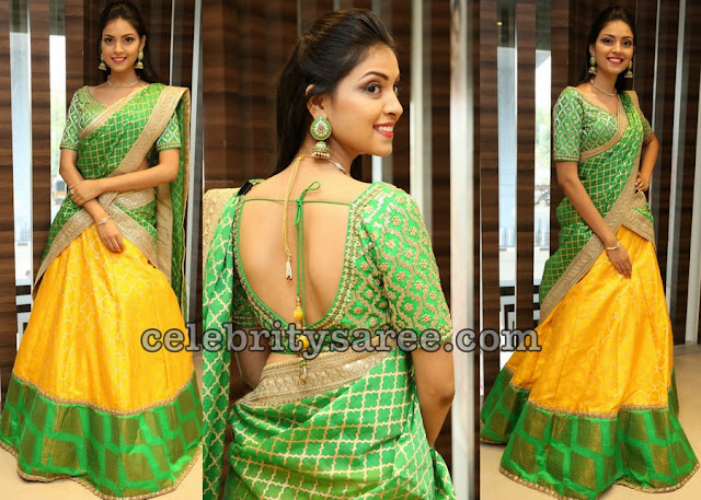 Yashu Mashetty in Bright Yellow Half Saree