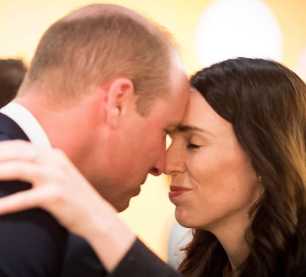 New Zealand Prime Minister, Jacinda Ardern greets UK's Prince William with a 'Maori nose press'