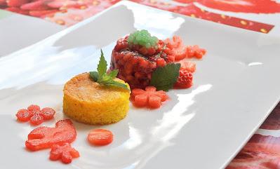 Erdbeertatar, Polenta/Limettenkuchen