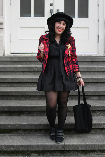 L.A.M.B. Cropped Plaid Jacket and Kate Spade Black Skirt Fall Outfit | Will Bake for Shoes