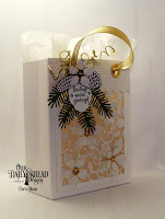 Our Daily Bread Designs, Pine Branches, Pinecones, Peaceful Poinsettia, Card Caddy and Gift Bag, Gift Bag Handle and Toppers, Mini Tags and Labels, White as Snow stamp set, designed by Chris Olsen