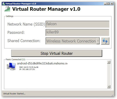 Cara setting Virtual Router untuk share internet wifi