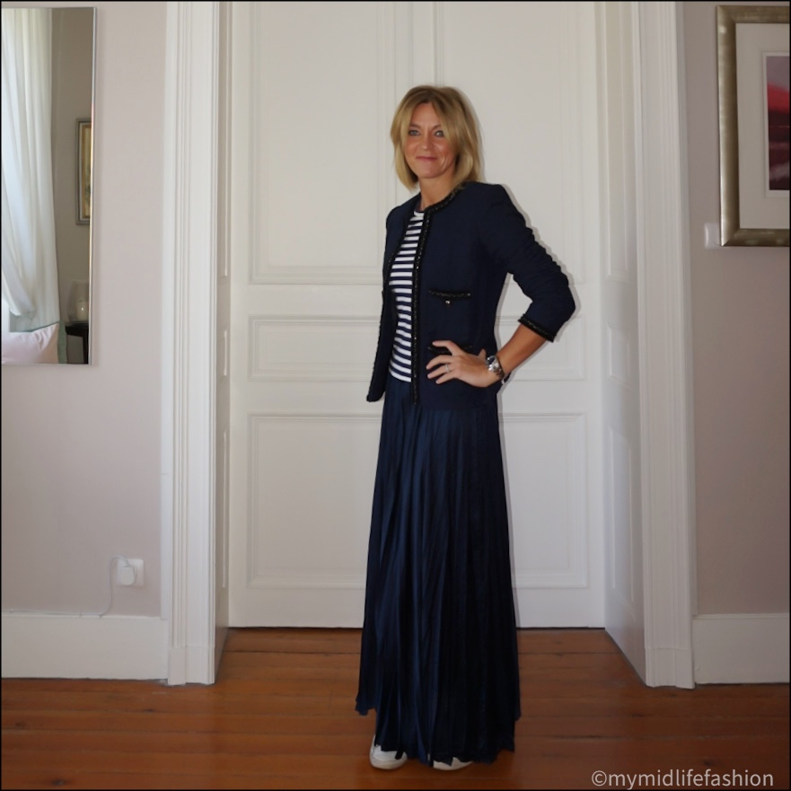 my midlife fashion, l k Bennett Charlee tweed jacket, come des garçons play heart embroidered striped cotton t shirt, zara satin effect maxi skirt, golden goose superstar low top leather trainers