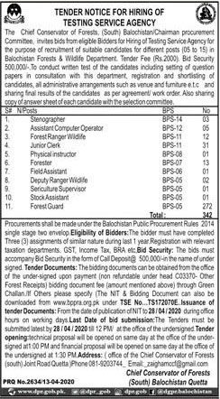 Forest Department Balochistan Jobs For Male and Female All Pakistan