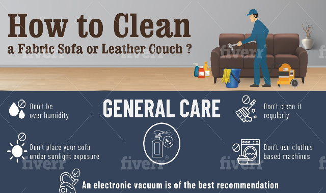 How to Clean a Fabric Sofa or Leather Couch? #infoographic