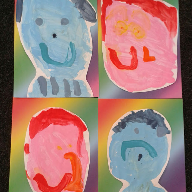 Picasso inspired self portraits,  blue and rose