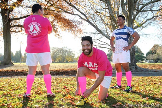 L-R: Ihaka Waerea, Lewis Marshall, Api Sione, MAC premier rugby players, Flaxmere, Hastings, will be wearing pink training strip before their game on Saturday, in support of the Cancer Society. photograph