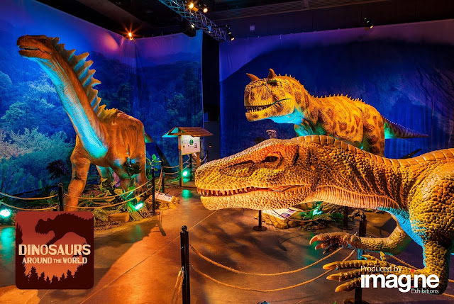 The exhibition features 13 advanced animatronic dinosaurs, educational activities, a touchable fossil, authentic casts and more...