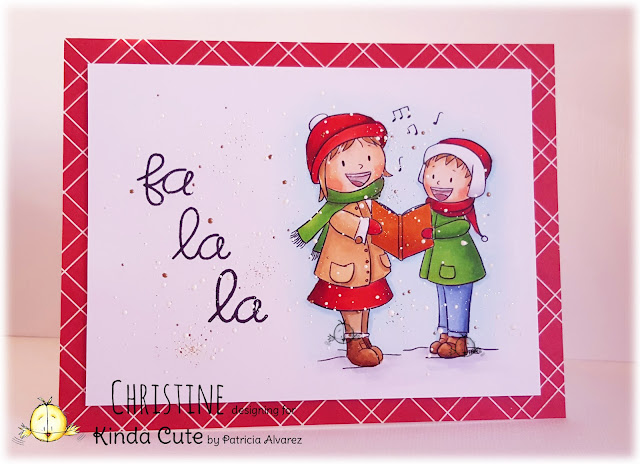 Christmas card using Kids singing digital stamp from Kinda Cute by Patricia Alvarez