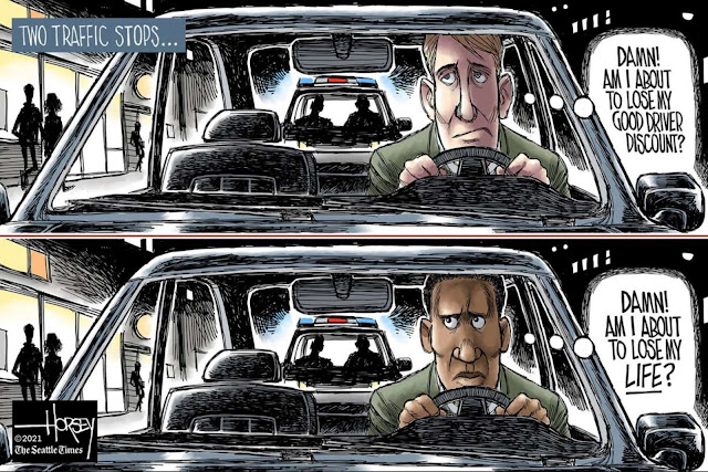Title:  Two Traffic Stops.  Image One:  White driver sees police in his rear view mirror and thinks,
