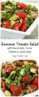 Summer Tomato Salad Recipe with Avocado, Tuna, Cilantro, and Lime (Low-Carb, Gluten-Free, Paleo) [from KalynsKitchen.com]