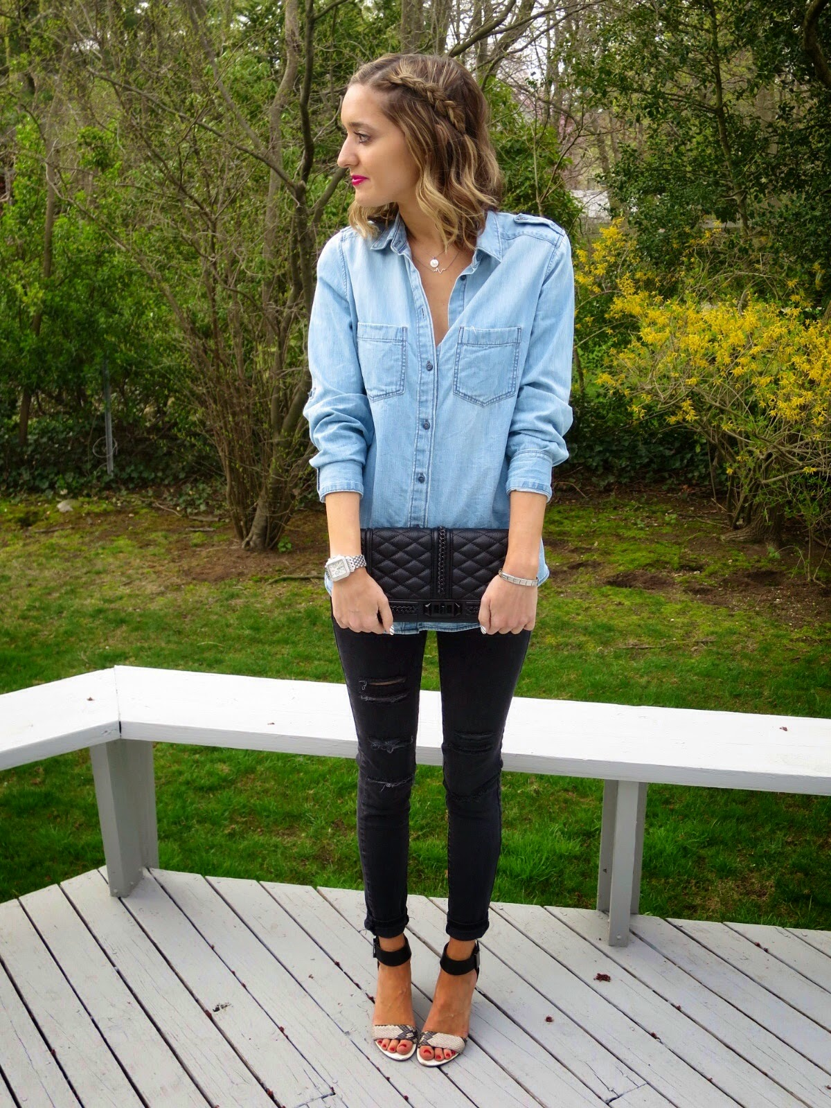 chambray & denim outfit