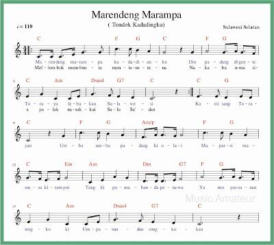 not balok lagu marendeng marampa