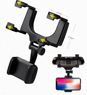 Phone Holder Mobil Kaca Spion Mirror Rearview Car Stent Mount HP GPS