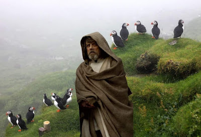 Mark Hamill as Luke Skywalker surrounded by puffins