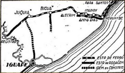 """Mapa das estações entre Santos-Juquiá, 1931. Acervo: """"O Estadão""""."""