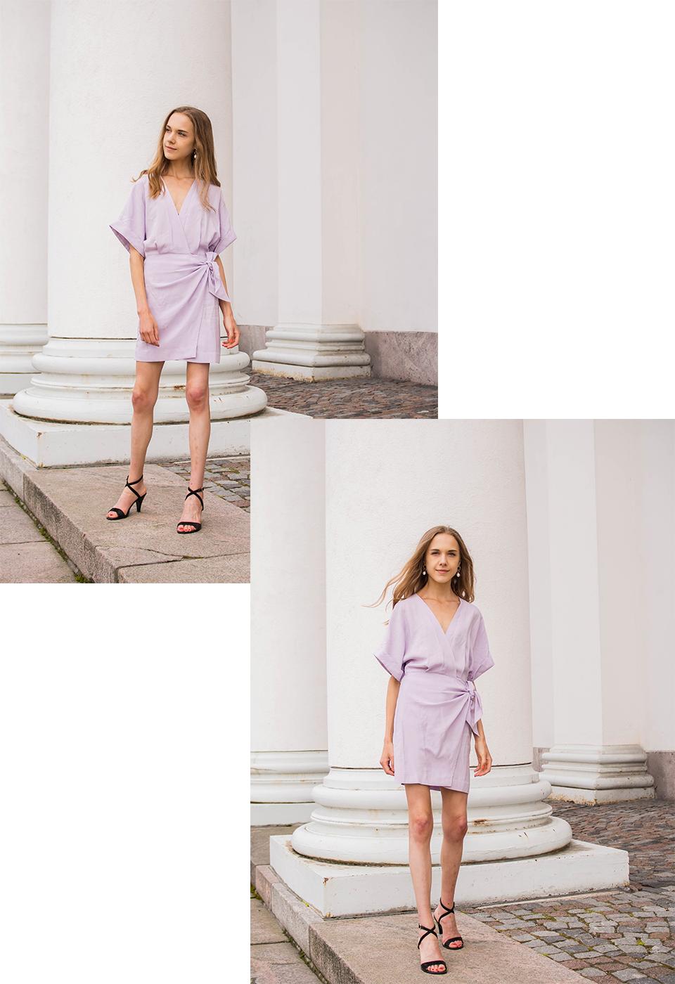 Summer trends 2020: lilac wrap dress - Kesämuoti 2020: vaaleanvioletti kietaisumekko