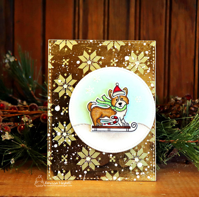 Foiled Dog Sled Card by Larissa Heskett | Winter Woofs Stamp Set by Newton's Nook Designs #newtonsnook #handmade