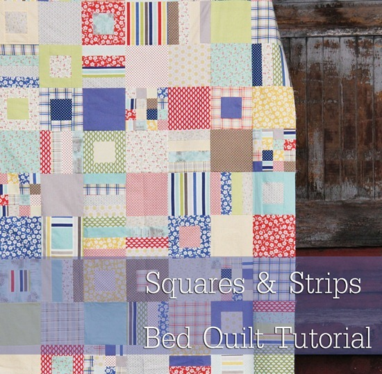 Squares and Strips, Free Fat quarter pattern in 4 sizes