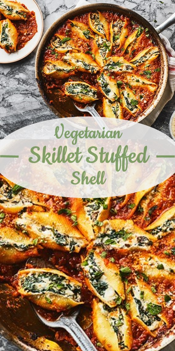 Vegetarian Skillet Stuffed Shells #Shell #Vegetable  #Dinner