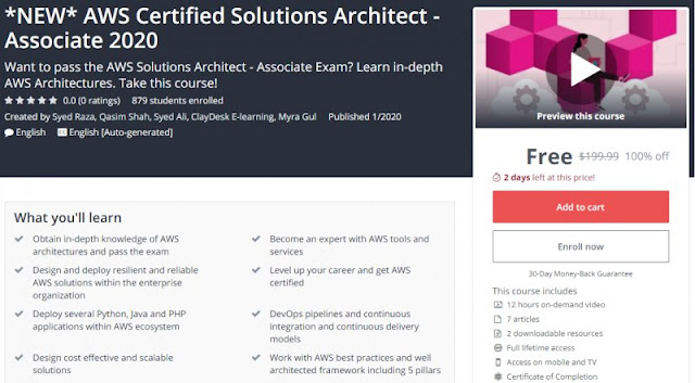 [100% Off] *NEW* AWS Certified Solutions Architect - Associate 2020| Worth 199,99$