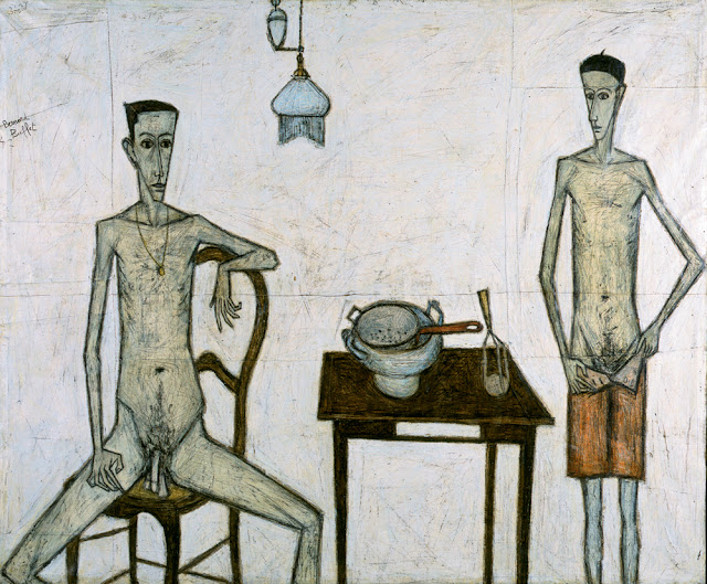 Deux Hommes dans une Chambre = Two Men in a Room (1947) Bernard Buffet (French, 1928-1999) Oil on canvas 61.75 x 74.5 in.