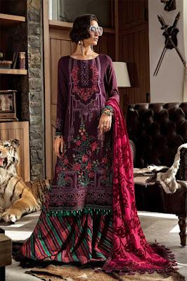 Maria b winter unstitched Purple color linen suit