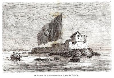 A bandeira do forte no porto de Vitória.