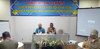 Kabid Perlindungan Anak DP3AP2 Provinsi Jambi Secara Resmi Membuka Bimbingan Teknis Sistem Informasi Gender(SIGA) Berskala Nasional Bagi Provinsi Jambi.