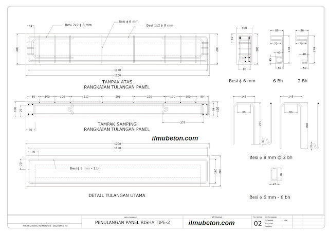 Gambar teknik panel struktur P2