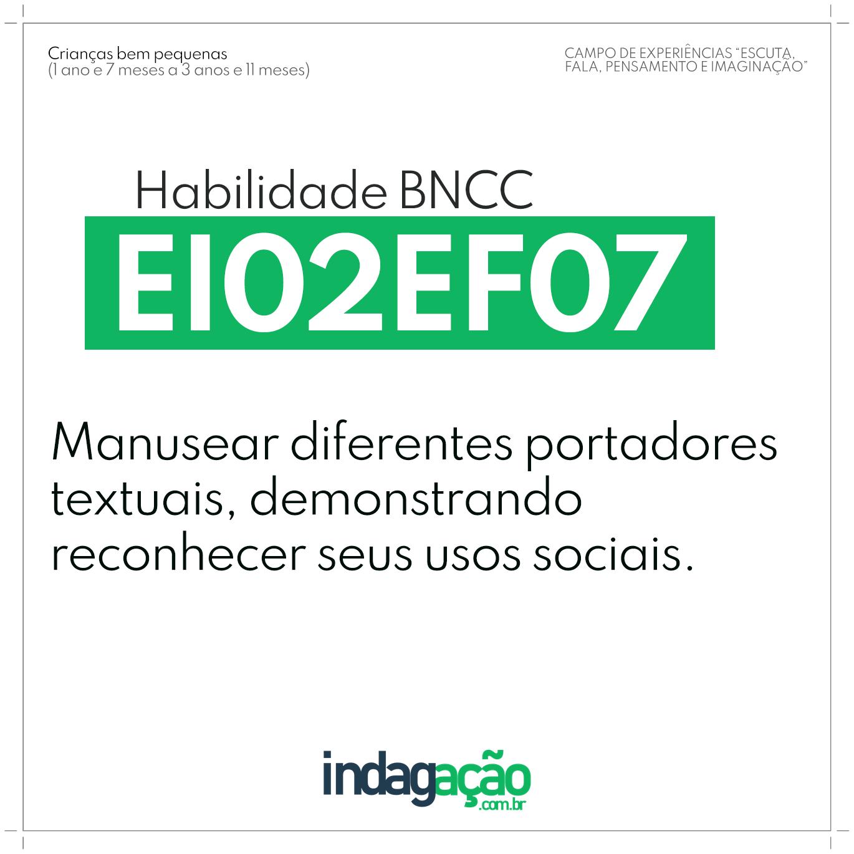 Habilidade EI02EF07 BNCC
