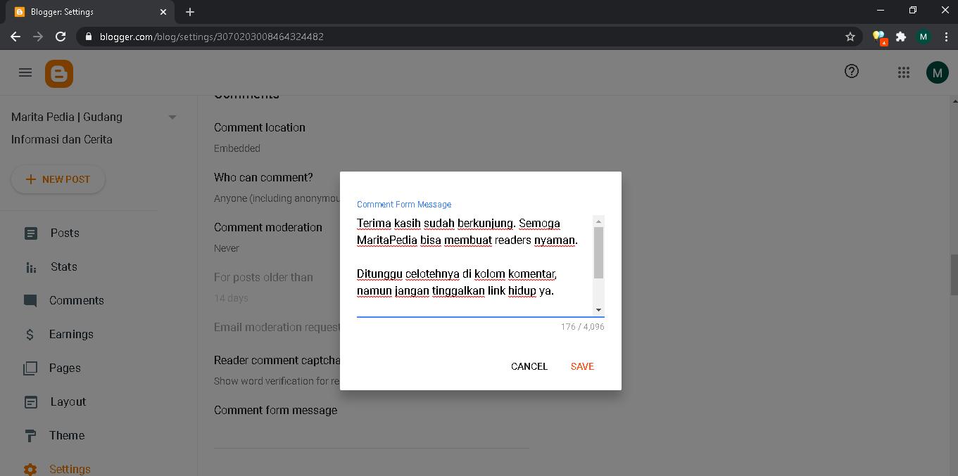 setting form message di blogspot