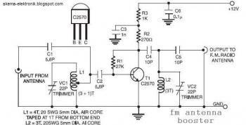 Circuit FM antenne amplificateur.