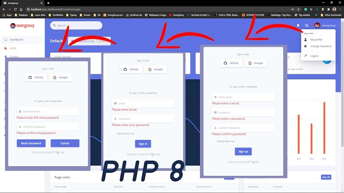 PHP8 Login and Register Admin dashboard