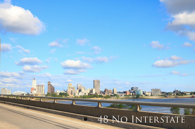 48 No Interstate back roads cross country coast-to-coast road trip Mississippi River Memphis Tennessee Arkansas