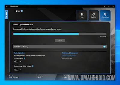 Tampilan Lenovo System Update