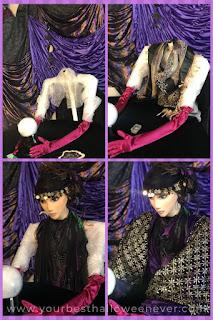 homemade DIY halloween character prop fortune teller being assembled