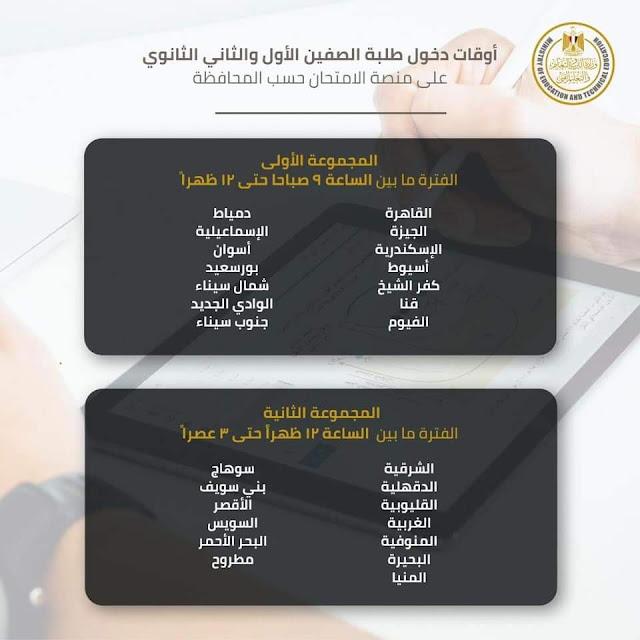 جدول امتحانات اولي وثانيه ثانوي والاكواد ومواعيد كل محافظه  (اجيال الاندلس )
