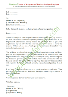 sample of acceptance of resignation letter from employer