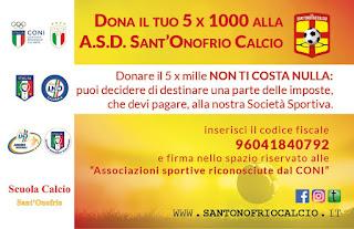 A.S.D. SANT'ONOFRIO CALCIO ISCRITTA NEGLI ELENCHI CONI DEL 5X1000