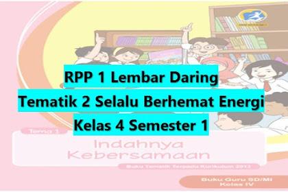 Download RPP 1 Lembar Daring Kelas 4 Semester 1 Revisi 2020 Tematik Tema 2 Selalu Berhemat Energi SD/MI Kurikulum 2013